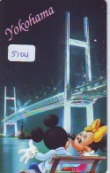 Télécarte Japon  * 110-177901 * MICKEY (5104)  YOKOHAMA * Voyage N° 7 * Japan  Phonecard TELEFONKARTE - Disney