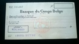 """Vieux Chèque De La """" BANQUE DU CONGO-BELGE"""". Colonisation Belge Du Congo.Payable à Kolwezi.Année 1960. - Chèques & Chèques De Voyage"""