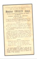 Faire-part De Décès De Joseph KNUBEN , Harmonie Et Jeunesse De BERNEAU 1948 - Avvisi Di Necrologio