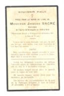 Faire-part De Décès De Jacques SACRE, Sacristain De L' Eglise De GRIVEGNEE  De 1858 à 1912 - 1915 - Avvisi Di Necrologio