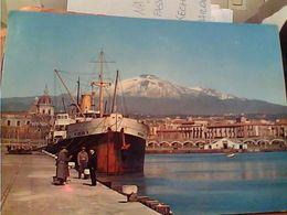 CATANIA NAVE SHIP CARGO IN PORTO LA NICOLAS II ANIMATA E VULCANO ETNA IN SFONDO VB1967 GM20650 - Catania