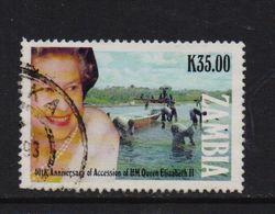 Zambia 1992, Queen, Minr 592, Vfu. Cv 1,70 Euro - Zambia (1965-...)