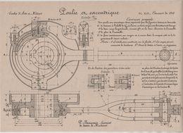 Planche Ecoles Arts Et Métiers Concours 1916 Poulie Et Excentrique Beauvais Dessin De Machines - Sciences & Technique