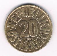 20 GROSCHEN 1954 OOSTENRIJK /120G/ - Austria