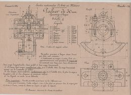 Planche Ecoles Arts Et Métiers Concours 1920 Palier De 30 Mm  Beauvais Dessin De Machines - Sciences & Technique