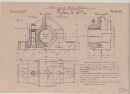 Planche Ecoles Arts Et Métiers Concours 1910 Palier De 50 Mm   Beauvais Dessin De Machines - Unclassified