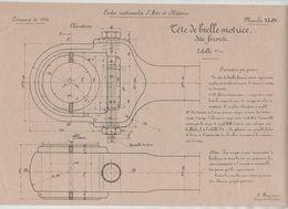 Planche Ecoles Arts Et Métiers Concours 1914  Tête De Bielle Motrice  Beauvais Dessin De Machines - Sciences & Technique