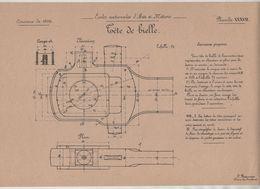 Planche Ecoles Arts Et Métiers Concours 1906  Tête De Bielle   Beauvais Dessin De Machines - Sciences & Technique