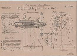 Planche Ecoles Arts Et Métiers Concours 1909 Poupée Mobile Pour Tour De 160 Mm   Beauvais Dessin De Machines - Sciences & Technique