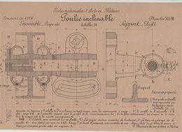 Planche Ecoles Arts Et Métiers Concours 1918 Poulie Inclinable Beauvais Dessin De Machines - Sciences & Technique