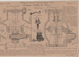 Planche Professorat Industriel Ecoles Pratiques Concours 1919 Soupape Double De 100 Mm Beauvais Dessin De Machines - Unclassified