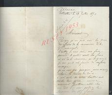LETTRE ECRITE DE VILLEVALLIER 1890 : - Manoscritti