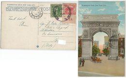 USA White Plains C.2 With Sheet Margin + C.1 Prexies On Washington Arch PPC NYC 22oct1926 To Italy - United States