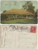 Cleveland Ohio Thatched Pavilion At Garfield Park Color PPC Canton 30jun1913 To Suisse With C.2 Prexies - Cleveland