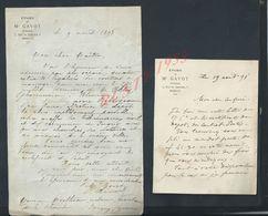 2 LETTRES ETUDE DE GAVOT NATAIRE À MARSEILLE 1898 : - Manoscritti