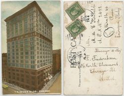Chicago IL - Tribune Bldg - Color PPC 12may1910 To Italy With C.1 Prexies 2 Pcs - Chicago