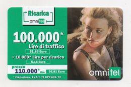 """Ricarica Telefonica """" OMNITEL """" Da Lire 100.000 - Usata - Validità 12.2004 -  (FDC7713) - Italy"""