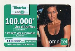 """Ricarica Telefonica """" OMNITEL """" Da Lire 100.000 - Usata - Validità 12.2004 -  (FDC7714) - Italy"""