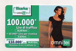 """Ricarica Telefonica """" OMNITEL """" Da Lire 100.000 - Usata - Validità 12.2004 -  (FDC7715) - Italy"""