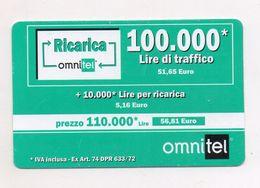 """Ricarica Telefonica """" OMNITEL """" Da Lire 100.000 - Usata - Validità 12.2002 -  (FDC7716) - Italy"""