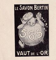 """Pub;1922 Le Savon BERTIN Vaut De L'Or  """"565"""" TBE - Publicités"""