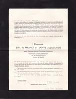 EYSER OVERIJSE BORNEM Thérèse Comtesse D'OULTREMONT Comtesse De MARNIX De SAINTE-ALDEGONDE 1884-1954 - Avvisi Di Necrologio