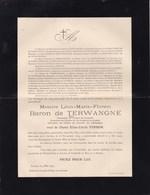 RANST Léon De TERWANGNE Veuf PINSON 1839-1907 Famille De SCHOUTHEETE De TERVARENT PEERS Faire-part Décès - Avvisi Di Necrologio