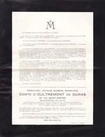 WILDEREN DURAS Emmanuel Comte D'OULTREMONT De DURAS Burgemeester Bourgmestre 1881-1958 - Avvisi Di Necrologio