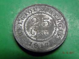 25 Cent 1917 (Zink) Königreich Belgien (1914 - 1918) Prägefrisch/prägeglanz - 1909-1934: Albert I