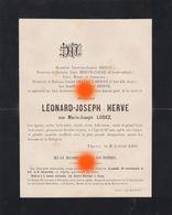 THEUX 1901 / Mme Léonard Joseph HERVE Née LODEZ /  RARE - Avvisi Di Necrologio