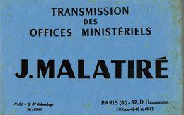 BUVARD TRANSMISSION DES OFFICES MINISTERIELS MALATIRE A PARIS - Buvards, Protège-cahiers Illustrés