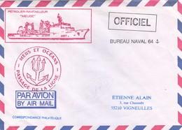 """FRANCE - LETTRE PAR AVION BUREAU NAVAL 64 - CACHET MER ET OCEANS PASSAGE DE LA LIGNE - PETROLIER-RAVITAILLEUR """"MEUSE"""" /1 - Poststempel (Briefe)"""