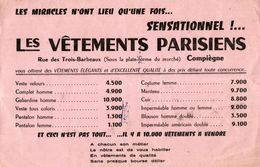 BUVARD  LES VETEMENTS PARISIENS A COMPIEGNE - Textile & Vestimentaire