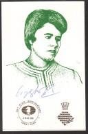 Autograph Nona Garpindashvili, World Chess Champion. Chess Postmark Belgrade 1994 On The Back - Historical Famous People
