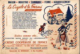 BUVARD CREDIT COOPERATIF DE FRANCE LA CIGALE ET LA FOURMI SIGNE POMMANDRE - Bank & Insurance
