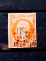 France 1853 N°16 Napoléon 40c Orange TBE Oblitéré - 1853-1860 Napoleon III