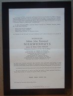 Faire-part D'Adrien NIEUWENHUYS, Epx Céline HALOT, Ambassadeur Honoraire, 1877-1952. - Avvisi Di Necrologio