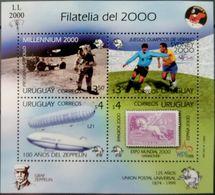 Uruguay, 1999, Mi. Bl. 89, Space, Football, Zeppelin, MNH - Space