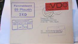 """Dienst/ZKD: Brief Mit ZKD VD Streifen Auf Normalen Papier Mit ZKD-Abs-Stpl. """"Fernmeldeamt 99 Plauen"""" Vom 3.4.67 - DDR"""