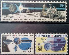 USA, 1971, 1975, Sc. 1434-35, 1556-57, SG 1437-38, 1552-53, Mi. 1046-47, 1164, 1170, Space, Moon, Satellite, MNH - Space