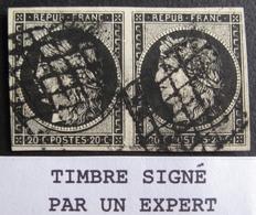 Lot FD/181 - CERES (PAIRE) N°3a ☛ Signé Calves (expert) - GRILLE NOIRE - Cote : 175,00 € - 1849-1850 Cérès