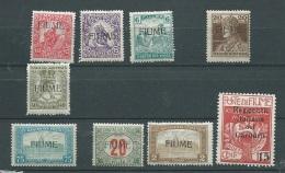 Fiume  - Lot - Yvert N° 1 , 2 , 7 , 25 ,  26 ,  15 , 18 , 118 , Taxe 11 , .TOUS **cote  + DE 40 E  - Abc 25603 - 8. Occupazione 1a Guerra