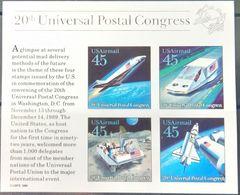 USA, 1989, Mi. Bl. 23, The 20th Universal Postal Congress, Space, MNH - Space