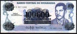 329-Nicaragua Billet De 100000 Cordobas Sur 100 Cordobas 1985 FE987 - Nicaragua