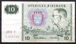 506-Suède Billet De 10 Kronor 1975 F L008 - Suède