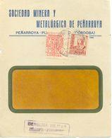Peñarroya-Pueblonuevo, Córdoba 1938 Censura Y Benéfico Sobre Frontal De Carta - Marcas De Censura Nacional