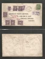 Canada. 1948 (31 May) Barrhead, Alberta - Toronto. Single 1c Green Fkd Reply Business Envelope, Taxed 6d Due + 6 + (+2 H - Canada