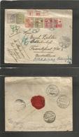 Dutch Indies. 1921 (16 Sept) Galang - Germany, Frankfurt (20 Oct) Via Medan. Registered Multifkd Envelope Incl Red Cross - Nederlands-Indië