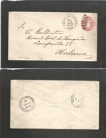 Cuba. 1900 (20 April) US Period. Calabazar De Sagua - Habana 2c Red Embossed Stationary Envelope. Lovely Village Cds. Re - Unclassified
