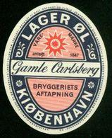 SO Etikett - Bier, Gamle Carlsberg, Lager Øl Kjøbenhavn - Beer